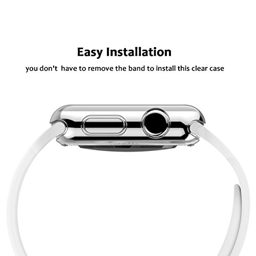 Apple Watch Case Series 1 38mm, Ezone Tempered Glass Screen Protector for Apple Watch Series 1 and Ultra-thin Clear HD Case by Ezone (Image #3)