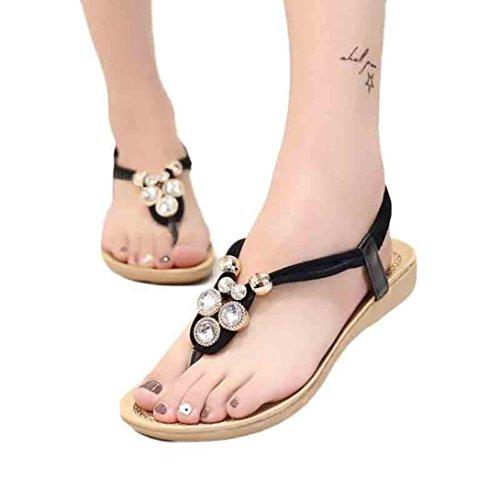 Transer® Damen Flach Sandalen Schön Glanz Strass PU-Leder+Gummi Beige Blau Schwarz Sandalen (Bitte achten Sie auf die Größentabelle. Bitte eine Nummer größer bestellen)