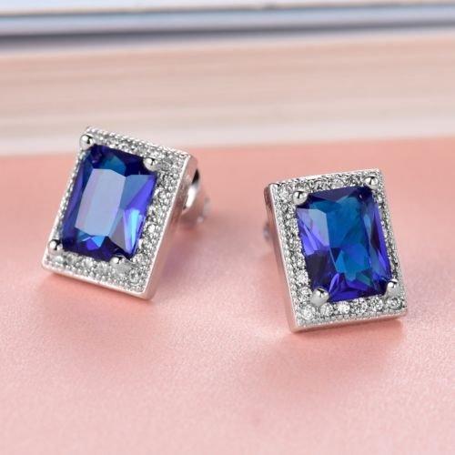 - Gozebra(TM) Womens Baguette Blue Sapphire Crystal Rhinestone Stud Wedding Promise Earrings