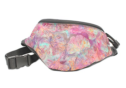 Chira Designs Batik Purple Gingko Leaves Fanny Pack - Waist Bag - Batik Leaf