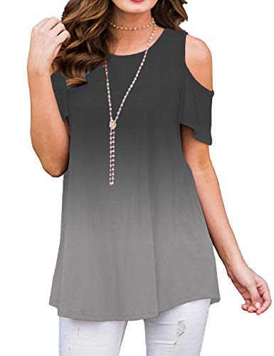 Sedimond Women T Shirts Off The Shoulder Ombre Cold Shoulder Tunic Tops for Jeans Ombre Gray XL (Best Cold Shoulder Tops)