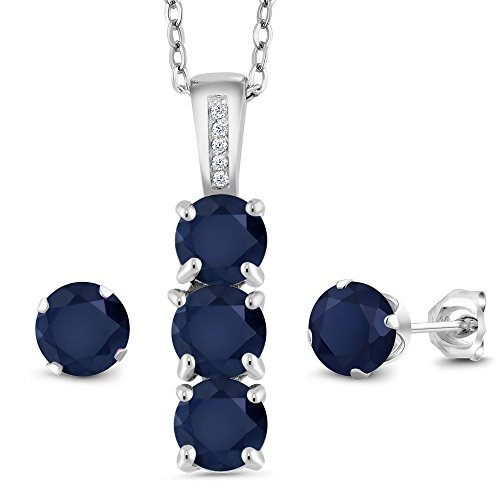 3.04 Ct Round Blue Sapphire White Diamond 925 Silver Pendant Earrings Set by Gem Stone King