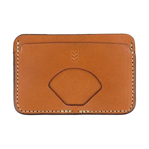 Mens Minimalist Wallet, Slim Wallet for Men Holds 6-8 Credit Card Sized Cards, Durable Minimalist Wallet Made with Wicket & Leather, Locally Sold & Made in Kansas City, Sandlot (Tan)