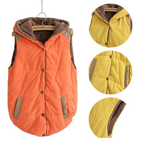 Fleece Gilet Jacket Orange Womens Hooded Jacket Slim XFentech Winter Waistcoat Button Sleeveless Vest Vest q8fZwFE