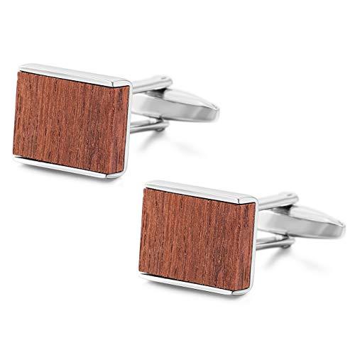 MOWOM Silver Tone Red 2PCS Rhodium Plated Wood Cufflinks Rectangular Shirt Wedding Business ()