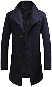 Cloudstyle Mens Quality Mid Long Wool Trench Pea Coat Wide Lapel Warm Jacket Overcoat