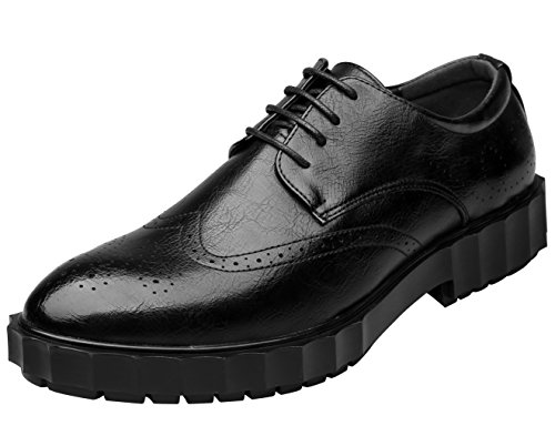 Perforated Casual Oxford Dress Shoes Tip Men Brogue up Santimon Black Shoes Lace Wing for HavqSSw