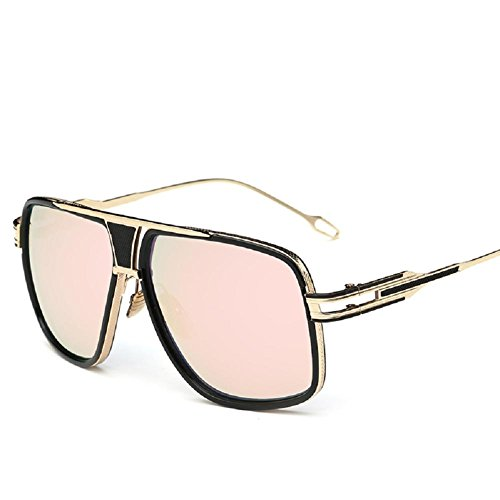 AOME Square Aviator Sunglasses Metal Frame Goggle Brand Designer (Gold&Pink, - Sunglasses Aviator Brand