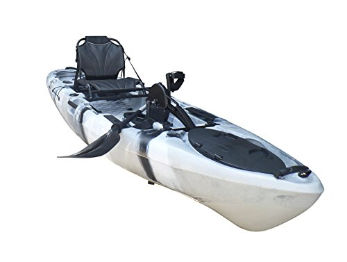 BKC UH-PK11 Pedal Drive Solo Rover 10-Foot 6-Inch Solo Kayak Propeller-Driven Sit On Top Single Fishing Kayak with Pedal Drive, Rudder System, Paddle, and Seat Included (Grey Camo)
