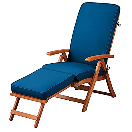 Pacific Blue Outdoor All Weather Cushion For Steamer Pool Deck Chair  Seasonal Replacement Cushion