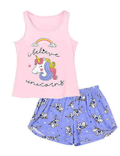 - Big Girls Unicorn Pajama - Size 10 Tank Top & Shorts Set Cotton Kids Clothes for Tween Pink & Purple