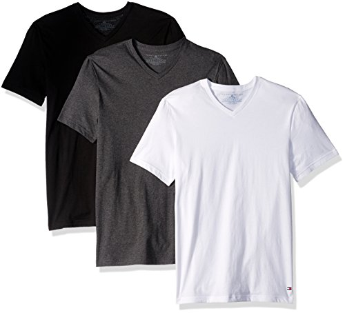 Tommy Hilfiger Men's Undershirts 3 Pack Cotton Classics V-Neck T-Shirts, Winter White, X-Large (Tommy Hilfiger Online)