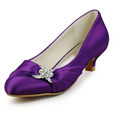 RTRY Las Mujeres'S Wedding Shoes Bomba Básica De Satén Stretch Primavera Otoño Parte &Amp; Vestido De Noche Tacón Gatito De Cristal Violeta Oscuro Negro Azul Oscuro Rubí US7.5 / EU38 / UK5.5 / CN38