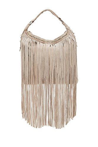 Sondra Roberts Leather Collection Suede Fringe Hobo, Taupe ()