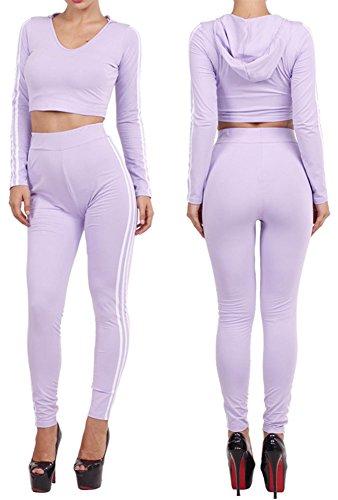 Women's V Neck Long Sleeve Side Striped Hooded Crop Top Pants 2 Pcs Set Jumpsuit