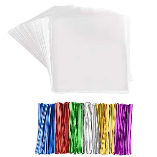 Clear Plastic Cellophane Bags With Twist Ties Cello Bags For Cake Pops Chocolate Candies Nuts Small Gifts (200, 3