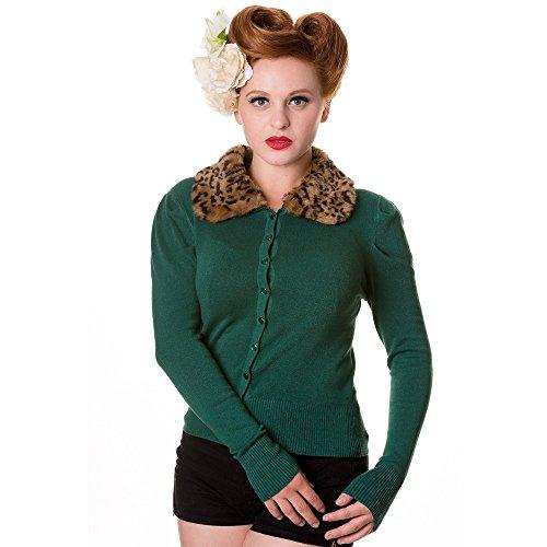 Banned–Mujer Retro Chaqueta de punto con extraíble Leo Cuello fellg sintética–Vintage leopardo Cuello de piel Cardigan de viscosa Uni verde