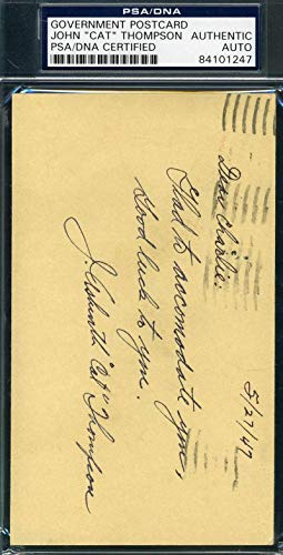 JOHN CAT THOMPSON Coa Autograph 1947 GPC Hand Signed Authentic PSA/DNA Certified College Cut Signatures