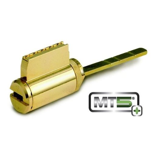 Mul-t-lock MT5+ Schlage / Arrow Deadbolt Cylinder with 4 Chambers (Thin Door)-Bright Brass by Mul-T-Lock