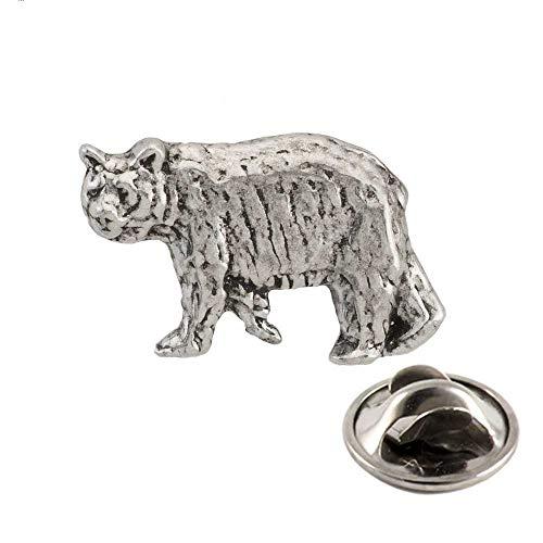 Black Bear Walking Pewter Mini Lapel Pin, Brooch, Jewelry, M033MP (Common Woodland Animals)