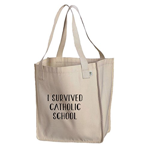 I Survived Catholic School Organic Cotton Canvas Market Tote Bag by Style in Print