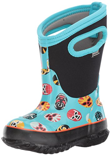 Bogs Classic High Waterproof Insulated Rubber Neoprene Rain Boot Snow, Mask Print/Light Blue/Multi, 13 M US Little Kid (Light Outdoor Classics Four)