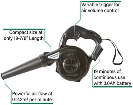 Delivers 19 Minutes of Continuous Operating Time Metabo HPT RB18DSLQ4 18V Cordless Lithium Ion Blower Ergonomic Handle Tool Only Variable Speed Trigger No Battery