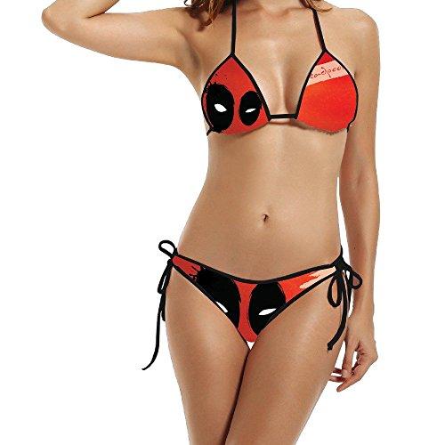 Captain America New Suit (Meowcat Bikini Women's Dead Pool Super Hero Triangle Top Bikini Swimsuit)