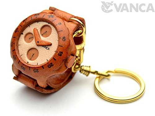 Watch 3D Leather Keychain(L) VANCA CRAFT-Collectible Keyring Charm Pendant Made in Japan ()