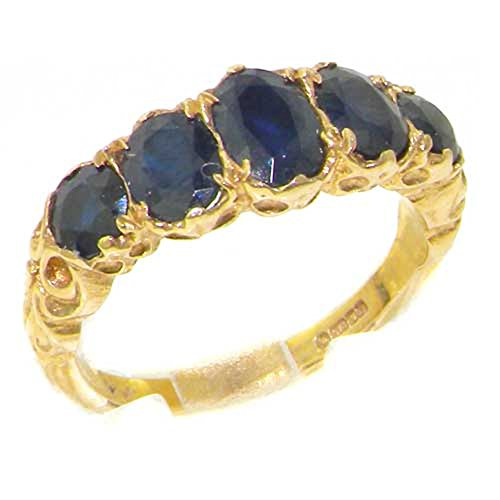 14k Yellow Gold Natural Sapphire Womens Band Ring - Sizes 4 to 12 Available 14k Yellow Gold Natural Sapphire
