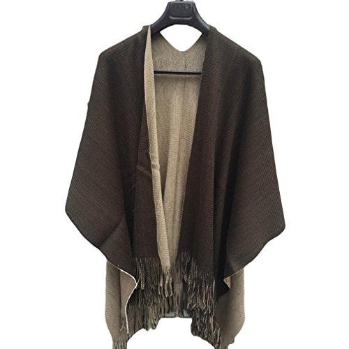 (Salute Women Winter Knitted Cashmere Poncho Capes Shawl Cardigans Sweater Coat (Coffee))