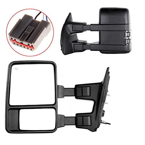 SCITOO Tow Mirrors Compatible with 2003-2007 Ford F250 F350 F450 F550 Towing Mirrors with Manual Control Turn Signal Light Left Right Side