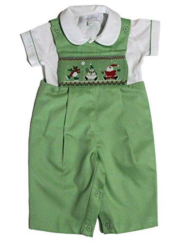 Carouselwear Baby Boy Green Boy Longall With Smocked Christmas Santa