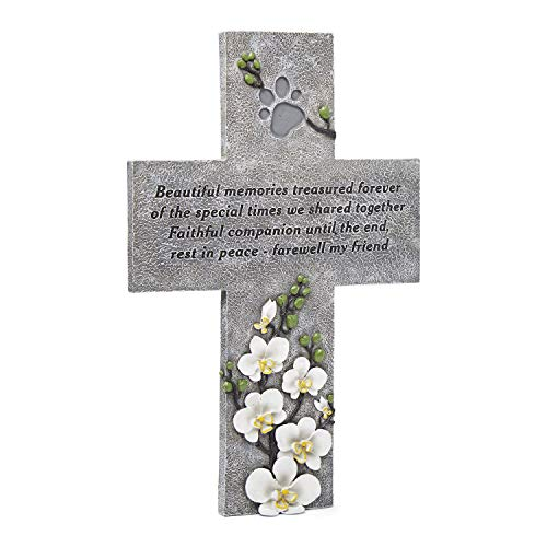 Orchid Valley Dog or Cat Weatherproof Grave Marker Cross or Headstone for The Garden or Yard. Outdoor Paw Print Memorial or Sympathetic Pet Loss Remembrance Gift