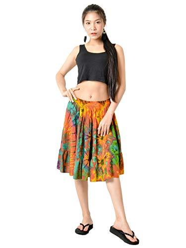 Hip Tie Dye Skirt - Orient Trail Women's Hippie Bohemian Boho Tie Dye Knee Length Mini Skirt Large Orange