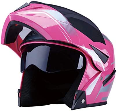 NJ ヘルメット- バッテリーカーのオートバイフェイスヘルメットの男性と女性の四季ユニバーサルアンチフォグダブルレンズヘルメット (Color : Pink, Size : 32x26x26cm)