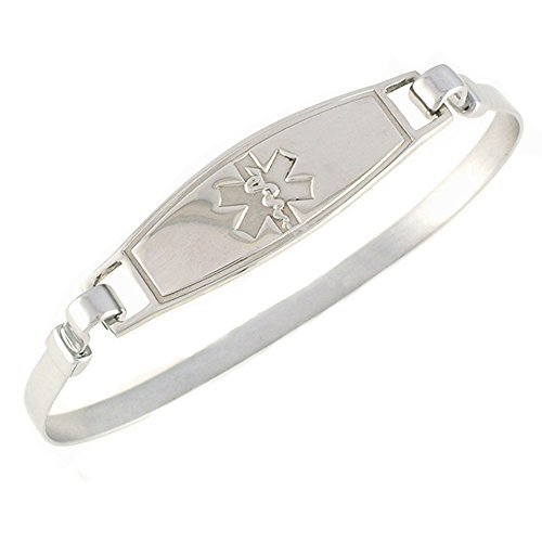 Women s Medical Alert ID Bracelet – Bangle, Custom Engraving Included, Stainless Steel – Solid, Size S M