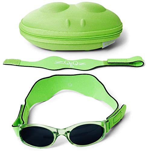 Tuga Baby/Toddler UV 400 Sunglasses w/ 2 Straps & Case, Green ()