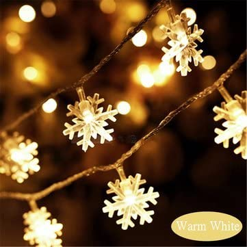 2.5M/5M LED Snowflakes String Christmas Light Xmas Tree Ornament Garland Hanging Décor-Warm White,5M Home & Décor at amazon