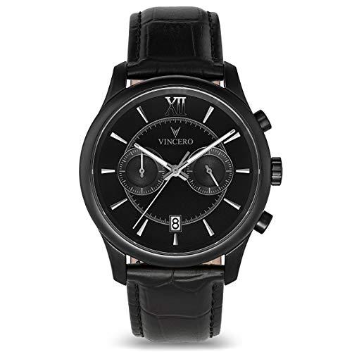 Vincero Luxury Men's Bellwether Wrist Watch — Matte Black with Black Leather Watch Band — 43mm Chronograph Watch — Japanese Quartz Movement