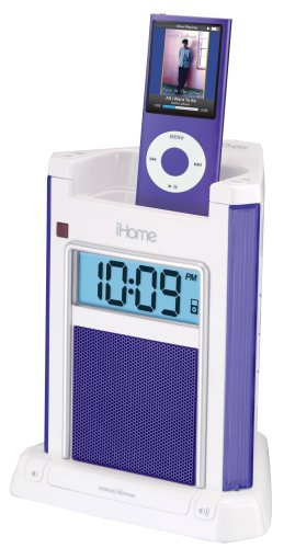 iHome iH4 Alarm Clock Speaker System with Dock for iPod (Lilac)