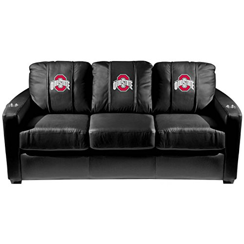 XZipit College Silver Sofa with Ohio State Buckeyes Logo Panel, Black