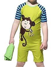 Karrack Kids One Piece Rash Guard Swimwear Bathing Suit UPF50+ Cartoon Monkey Style UV Protection Swimsuit for Boys