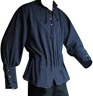 Succper - Camisa Medieval para Hombre, Manga Retro, Cuerda Larga, Venda gótica, Blusa de Moda - Azul - XXX-Large: Amazon.es: Ropa y accesorios