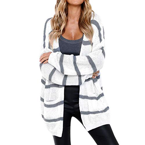Clearance Sale Women Knit Cardigans Color Block Striped Open Front Cardigans Long Sleeve Pocket Sweaters (M, White) by Gallity Women Blouse