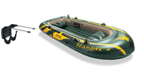 Intex Seahawk 4 Inflatable Boat Set With Oars, Pump And Motor Mount Kit