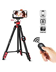 ZOMEi Phone Tripod, Cell Phone Tripod Camera Tripod with Bluetooth Remote Cellphone Holder Mount 360 Panorama Ball Head for Camera GoPro/Mobile Cell Phone iPhone Xs/Xr/Xs Max/X/8/Galaxy Note 9