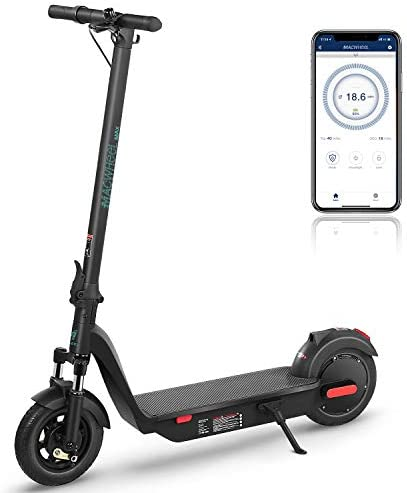 Macwheel MAX Electric Scooter, Up to 40 Miles Riding Range, 500W Brushless Hub Motor, Max 18.6 mph, Front Suspension, APP Control, 10'' Electric Scooter for Adults