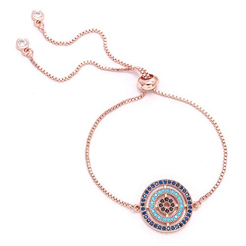 14K Rose Gold Plated Adjustable Chain Bracelet - Beautiful Jewelry Gift - Good for Women Or Girls (Rose Gold)