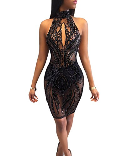 IyMoo Women's Sexy Sequins Mesh Sheer See Through Halter Floral Dress Party Bodoncon Clubwear Black Medium